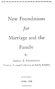 New Foundations in Marriage and Family