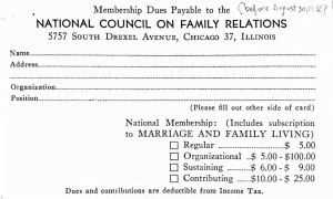 1952 Membership signup card